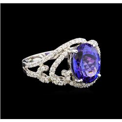 14KT White Gold 4.55 ctw Tanzanite and Diamond Ring