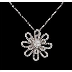 1.14 ctw Diamond Pendant With Chain - 18KT White Gold