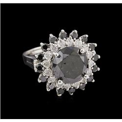 7.64 ctw Black Diamond Ring - 14KT White Gold