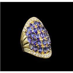 14KT Yellow Gold 7.21 ctw Tanzanite and Diamond Ring