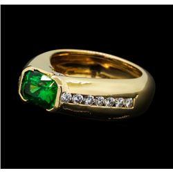 2.50 ctw Tsavorite Garnet and Diamond Ring - 14KT Yellow Gold