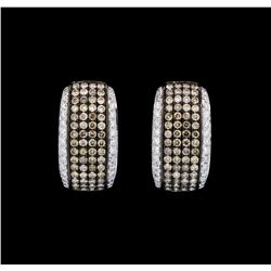1.50 ctw Brown and White Diamond Earrings - 18KT White Gold