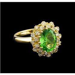 2.88 ctw Tsavorite and Diamond Ring - 14KT Yellow Gold