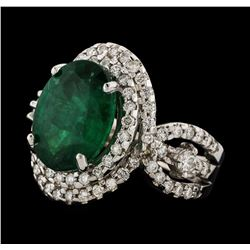 4.54 ctw Emerald and Diamond Ring - 14KT White Gold