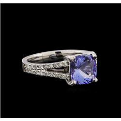 14KT White Gold 2.37 ctw Tanzanite and Diamond Ring