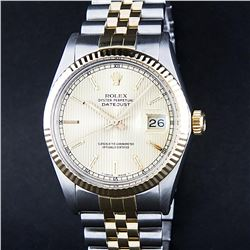Rolex Two-Tone Champagne Tapestry Index Dial  Men's Watch