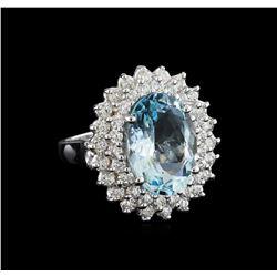 5.26 ctw Aquamarine and Diamond Ring - 14KT White Gold