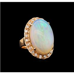 14KT Rose Gold 10.84 ctw Opal and Diamond Ring