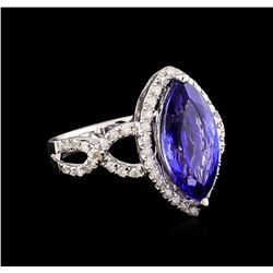 14KT White Gold 3.88 ctw Tanzanite and Diamond Ring