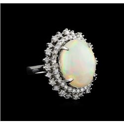 10.37 ctw Opal and Diamond Ring - 14KT White Gold