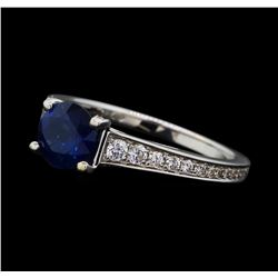 1.30 ctw Sapphire and Diamond Ring - 18KT White Gold