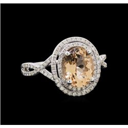 1.65 ctw Morganite and Diamond Ring - 14KT White Gold