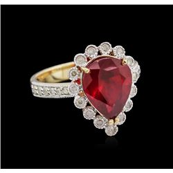 4.38 ctw Ruby and Diamond Ring - 14KT Yellow Gold