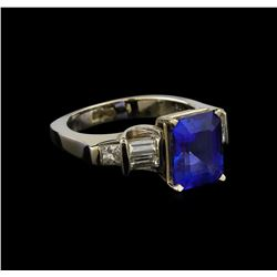 3.71 ctw Tanzanite and Diamond Ring - 18KT White Gold