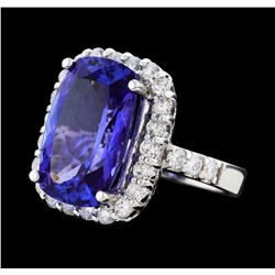 10.59 ctw Tanzanite and Diamond Ring - 14KT White Gold