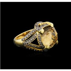 18KT Yellow Gold 7.48 ctw Citrine and Brown Diamond Ring