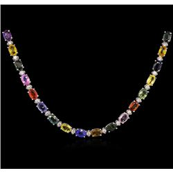33.10 ctw Multi Color Sapphire and Diamond Necklace - 18KT White Gold