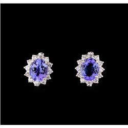 4.42 ctw Tanzanite and Diamond Earrings - 14KT White Gold