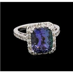 6.83 ctw Tanzanite and Diamond Ring - 14KT White Gold