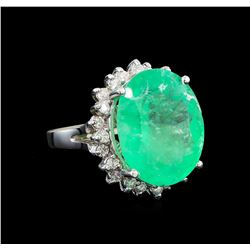 GIA Cert 13.50 ctw Emerald and Diamond Ring - 14KT White Gold