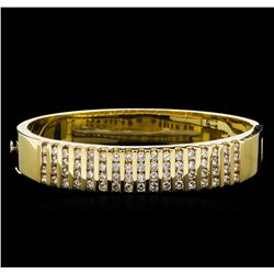 4.20 ctw Diamond Bangle Bracelet - 14KT Yellow Gold