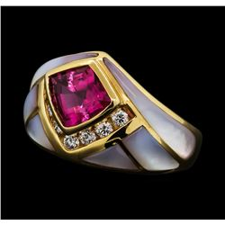 2.25 ctw Pink Tourmaline, Diamond and Mother of Pearl Ring - 14KT Yellow Gold