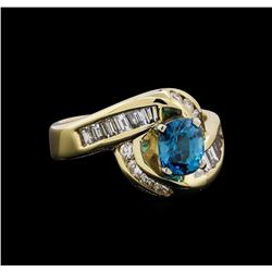 1.60 ctw Blue Zircon Ring - 14KT Yellow Gold