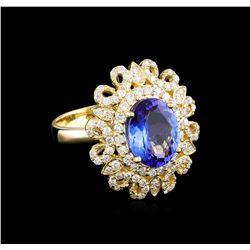 3.56 ctw Tanzanite and Diamond Ring - 14KT Yellow Gold