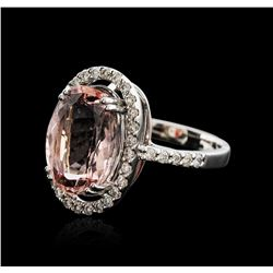 18KT White Gold 7.16 ctw Morganite and Diamond Ring
