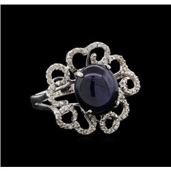 8.99 ctw Blue Star Sapphire and Diamond Ring - 18KT White Gold