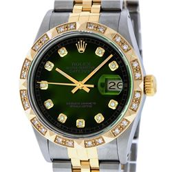 Rolex Mens Two Tone Diamond Lugs Green Vignette Diamond Lugs Pyramid Bezel Datej