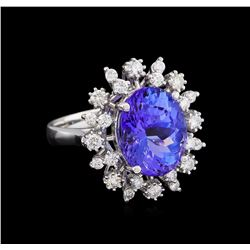 6.25 ctw Tanzanite and Diamond Ring - 14KT White Gold