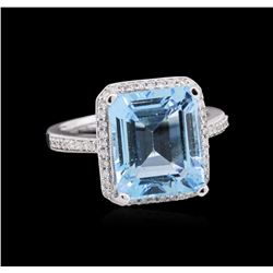 8.77 ctw Topaz and Diamond Ring - 14KT White Gold