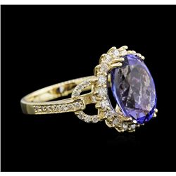 6.16 ctw Tanzanite and Diamond Ring - 14KT Yellow Gold