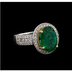 14KT Two-Tone 3.39 ctw Emerald and Diamond Ring