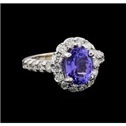 3.48 ctw Tanzanite and Diamond Ring - 14KT White Gold
