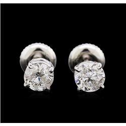 1.21 ctw Diamond Stud Earrings - 14KT White Gold
