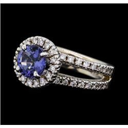 1.48 ctw Blue Spinel and Diamond Ring - 14KT White Gold
