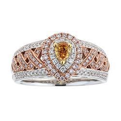 0.25 ctw Multicolor Diamond Ring - 18KT Rose and White Gold
