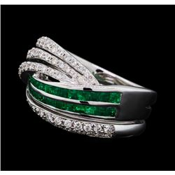 0.66 ctw Emerald and Diamond Ring - 18KT White Gold