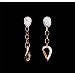 0.34 ctw Diamond Earrings - 14KT Two-Tone Gold