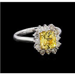 GIA Cert 1.89 ctw Yellow Sapphire and Diamond Ring - 18KT White Gold
