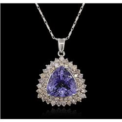 11.38 ctw Tanzanite and Diamond Pendant With Chain - 14KT White Gold