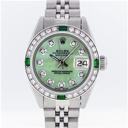 Rolex Stainless Steel Green MOP Diamond DateJust Ladies Watch