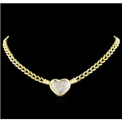 0.81 ctw Diamond Heart Necklace - 14KT Yellow and White Gold