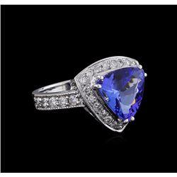 3.99 ctw Tanzanite and Diamond Ring - 14KT White Gold