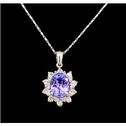 14KT White Gold 3.14 ctw Tanzanite and Diamond Pendant With Chain