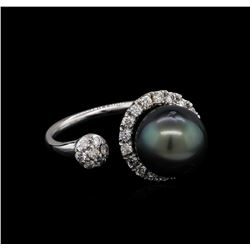 0.68 ctw Pearl and Diamond Ring - 14KT White Gold