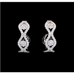 1.22 ctw Diamond Hoop Earrings - 14KT White Gold