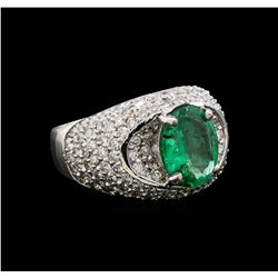 14KT White Gold 2.50 ctw Emerald and Diamond Ring